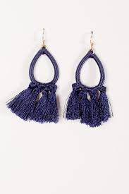 navy blue earrings trend navy threaded tassel earrings bobbles and lace