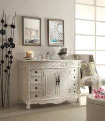 adelina 48 inch antique white bathroom vanity white marble top