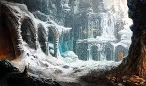 wallpaper fantasy landscape magician snow building concept art