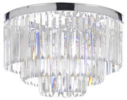 Chrome Flush Mount Ceiling Light by Glass Fringe Odeon Empress 3 Tier Flush Mount Chandelier Chrome