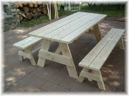 Wooden Picnic Tables For Sale Wood Picnic Table With Detached Benches 7709