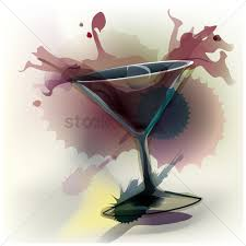 martini cup cartoon glass of spilled cocktail vector image 1630724 stockunlimited