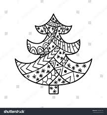 christmas tree christmas card zentangle style stock vector