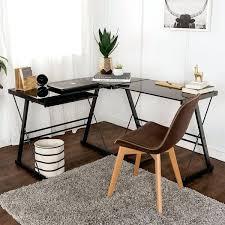 Corner L Shaped Desk L Shaped Corner Desk L Shape Corner Black Glass Computer Desk