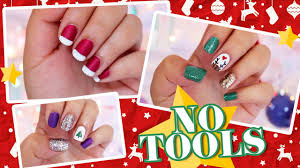 3 easy no tools christmas nail art youtube