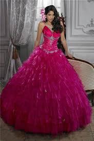 fuchsia quinceanera dresses gown fuchsia organza quinceanera dress with beading ruffles