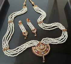 long pearl necklace set images Indian jewelry goldtone semiprecious stone cz pearl long rani haar jpg