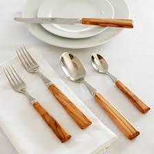 sur la table flatware dubost olive wood flatware set at sur la table tabletop