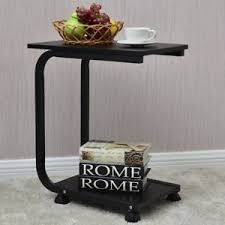 2 tier snack stand black rolling sofa side table tea table rack