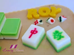 chendol agar agar with mahjong tiles birthday cake