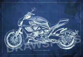 What Size Paper Are Blueprints Printed On by Ducati Superbike 1299 Panigale 2015 Blueprint Art Print 8x12in