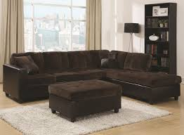 Sofa With A Chaise Lounge by Mesa Two Tone Chocolate Fabric Sofa With Reversible Chaise Lounge