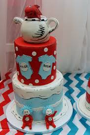 Baby Shower Cake And Cupcakes Dr Seuss Thing 1 And Thing 2 Baby Shower Cakes Cupcakes
