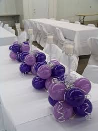 silver purple and teal balloon centerpieces by extra pop by