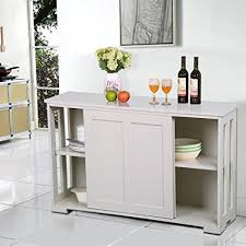 dining room storage cabinets amazon com yaheetech antique white sliding door buffet sideboard