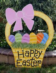 outdoor easter decorations easter basket yard easter outdoor wood decoration easter