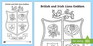 british irish lions emblem colouring rugby rugby