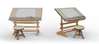 Wooden Drawing Desk Top View Of Drawing Table With Tools Clipping Path Included