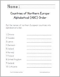 northern european countries abc order worksheet student handouts