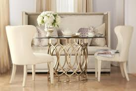 bernhardt salon dining table with inlaid metal border fisher