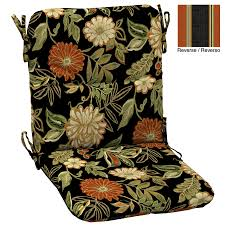 Black Outdoor Chair Cushions Shop Arden Outdoor Floral Black Patio Chair Cushion At Lowes Com