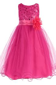 fuchsia pink sequined bodice dress with lettuce hem tulle skirt