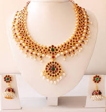 beautiful gold necklace set images Buy beautiful temple necklace set dj14673 online jpg