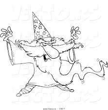 vector of a cartoon wizard casting a spell coloring page outline