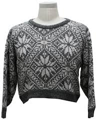 snowflake sweater womens totally 80s style cropped snowflake