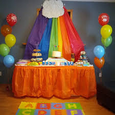 Plastic Table Runners Rainbow Birthday Party Backdrop Made Of Plastic Table Cloths