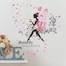 Fairy Girl Butterfly Princess Kids Room Decor DIY Wall Sticker Art - Butterfly kids room