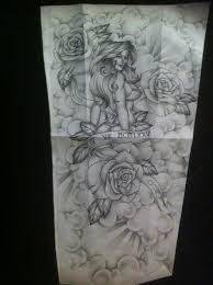 pinup with roses full sleeve tattoo design by tattoosuzette on