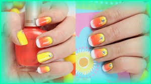 cute fall halloween nail art design for short nails ombré candy
