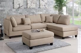 Beige Sectional Sofas Poundex F7605 3 Pcs Sand Fabric Reversible Chaise Sectional Sofa Set