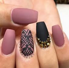 black matte nail design nails pink image 4320893 by