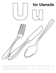 alphabet coloring pages free utensils alphabet coloring pages of