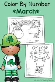 color by number worksheets for march st patrick u0027s day mamas