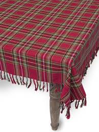 square table cloth tartan plaid cotton print by april cornell
