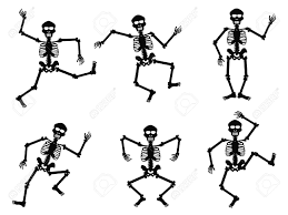 halloween background skeletons isolated skeletons dancing on white background royalty free