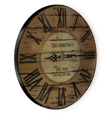 theme clock customize rustic wooden clock family theme sizes