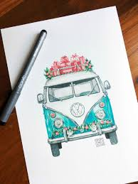 volkswagen old van drawing christmas vw art print christmas holiday watercolor
