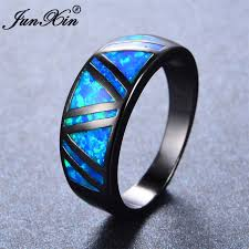 aliexpress buy junxin new arrival black aliexpress buy junxin blue opal ring
