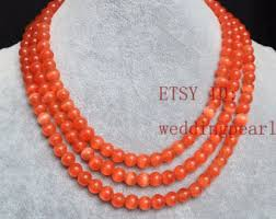 orange stone necklace images Orange bead necklace etsy jpg