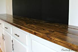 torched diy rustic wood counter top for under 50 by creatively living beautiful diy wood counter top by creatively living