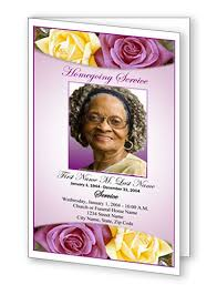 funeral program templates purple rose