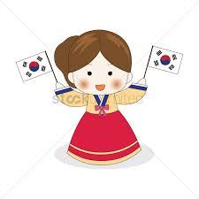 Korea Flag Icon Korean Holding South Korea Flags Vector Image 2014045