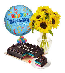 balloon and cake delivery sunflower with cake and balloon to manila philippines