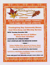 thanksgiving day community dinner coat giveaway worship
