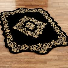 Area Rug Black Imperial Scroll Sculpted Wool Area Rugs