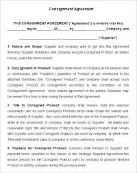Consignment Store Contract Template consignment contract template 6 free word pdf documents